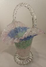 Vintage Italian Murano Art Glass Basket Colorful Splatter Twisted Handle 10""