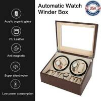 Leather 4+6 Automatic Rotation Wood Watch Winder Storage Display Case Box Holder
