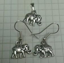 "TIBETAN SILVER(SET)""TINY ELEPHANTS""EARRINGS+PENDANT 18/20""LEATHER NECKLACE+POUCH"