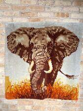 Vintage Elephant Art Latch Hook 39x39 Yarn Tapestry Brown Gray Orange