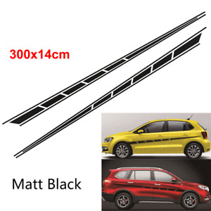 2x Car Body Sticker Streamline Style Side Strip Wrap Vinyl Film Decal Matt Black