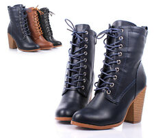 Navy Faux Leather Lace Up Ankle-High Chunky Heels Womens Combat Boots Size 7.5