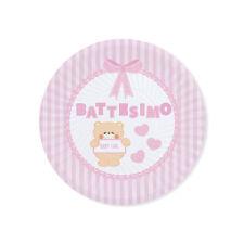 PIATTI IN CARTONCINO CM 18 TEDDY ROSA BATTESIMO CF 8 PZ FESTE E PARTY