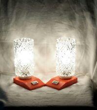 70er Jahre Nachttischlampen 70s Orange Sakü lamp bedroom Eisglas table set paar