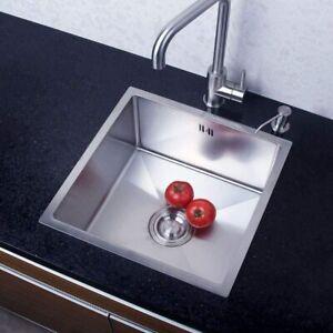 304 Stainless Steel Kitchen Sink Bowl Topmount + Waste Plumbing Kit 44x44cm