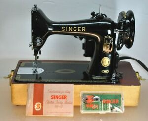VINTAGE SINGER SIMANCO RF5-8 PORTABLE SEWING MACHINE WITH MANUAL, PEDAL & LIGHT
