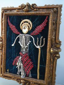 OOAK Jewelry Art Framed Devil Angel Handmade Folk Art Gold Wood Frame Signed