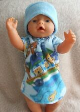42cm BABY BORN  / dolls clothes // NIGHTGOWN & BEANIE // all in the boat ~ blue