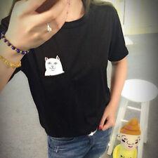 Funny Middle Finger Pocket Cartoon Cat T shirt Summer Short Sleeve Gift For Her