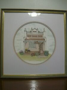 House and Floral Painting with Embroidery of Floral Scene - by Jan Harris