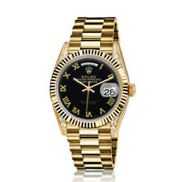 Rolex 36mm Presidential 18kt Gold Glossy Black Color Roman Numeral Dial  Lugs 18