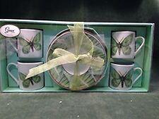 Grace's Teaware Green MOTH /Butterfly 8 PieceTea Demitasse Expresso Set