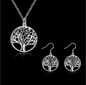 * TREE OF LIFE * SILVER PENDANT / NECKLACE WITH CHAIN & EARRINGS - NEW
