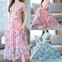 Women O-Neck Floral Print Maxi Dress Summer Boho Beach Casual Long Short Dresses