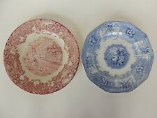 2 antique transferware Plate 1800s blue red wall decor