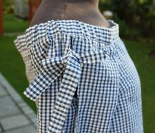 Gingham Top RIVER ISLAND Size 8 Blue and White Off Shoulder Bows on Sleeve