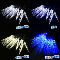 LED ICICLE LIGHTS OUTDOOR FROZEN SNOWFALL CHRISTMAS LIGHTS XMAS GARDEN HOUSE UK