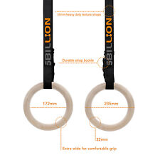 32mm 5billion Wooden Gymnastic Olympic Rings Gym Fitness Training Exercise