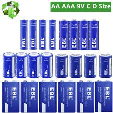 EBL AA AAA C D Size 9V LR14 LR20 Alkaline Non-Rechargeable Batteries Exp 2030