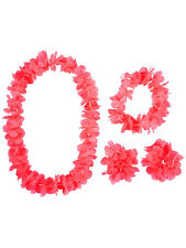 Neon Pink Flower Leis Hawaiian Garland Tropical Hula 4 Piece Hawaii Fancy Dress