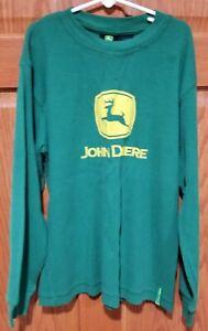John Deere Boys Size Medium (10/12) Thermal Long Sleeve Green Shirt