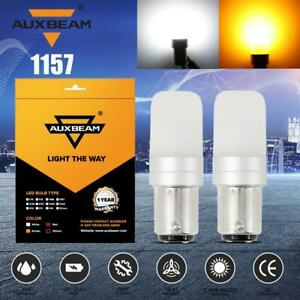 AUXBEAM 1157 1156 LED Front Turn Signal Parking DRL Light Bulb Dual Color 2PCS