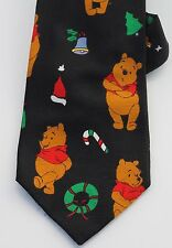 Winnie The Pooh Christmas Theme Disney Mens Black Neck Tie