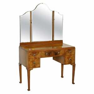 QUALITY CIRCA 1940'S BURR & BURL WALNUT DRESSING TABLE WITH TRIFOLD MIRRORS