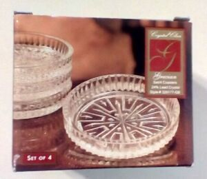 Grecian 24% Lead Crystal Coaster Set of 4 New In Box With Stickers
