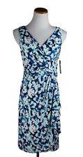Chaps by Ralph Lauren Women's Surplice Faux-Wrap Dress Floral Blue, S M L XL NWT