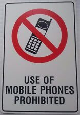 USE OF MOBILE PHONES PROHIBITED - 450x300mm POLYPROPYLENE SAFETY SIGN (PM50)