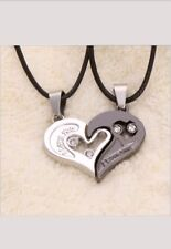 Stainless Steel I Love You Heart Yin Yang 2 Pc Necklace Set