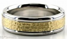 MENS 14K GOLD TWO TONE WEDDING RINGS,6MM HAMMERED FINISH WEDDING BANDS