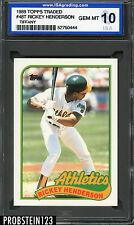 1989 Topps Traded #48T Rickey Henderson Oakland Athletics ISA 10 GEM MINT