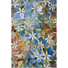 BLUE FLORAL Privacy Stained Glass Decorative Window Film Vinyl Static Clings