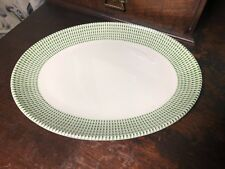 Vintage Hostess Tableware Green Debonair Oval dinner or serving plate / dish