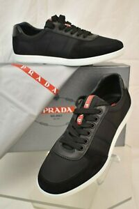 NIB PRADA 4E3228 BLACK NYLON SUEDE QUILTED LACE UP LOW TOP SNEAKERS 6.5 US 7.5
