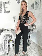 EX Jane Norman Pantaloni Pizzo Nero Floreale Tutina Taglia 6 8 10 12 14 16 18