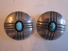 E. BEGAY TURQUOISE EARRINGS - MARKED E. BEGAY - CLIPS - MIGHT BE STERLING?