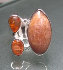 925 silver sunstone/amber cocktail ring UK M½-¾/US 6.5-6.75