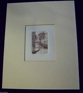 VENETIAN CANAL GONDOLA -LIMITED EDITION QUALITY Drypoint Etching Desirable Image
