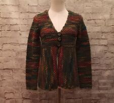 Talbots Petites P Green Wool Mohair Button Front Sweater Cardigan Multi Color