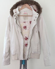 """'Animal' Jacket Coat 14 Pure Cotton White Hood with Fur Trim Padded Length 24"""""""