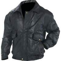 NWT Mens Black Leather Bomber Jacket Coat Bike Ride Cold S M L XL 2X 3X 4X 5X