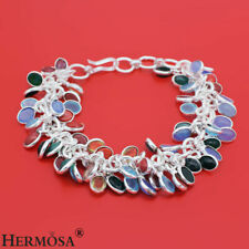 """75% OFFBlue Agate Coral Chalcedony 925 Sterling Silver Fashion Bracelet 8.5"""" 1"""