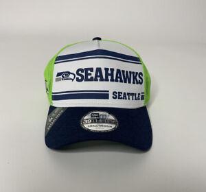 New Era Seahawks Green/Navy 2019 NFL Sideline Historic Logo 39THIRTY Hat Sz S/M