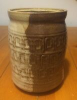 """Vintage Brown And White Textured Pottery Jar w Lid 6.25"""" x 4.25"""" Signed Numbered"""