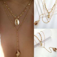 Boho Multilayer Gold Chain Choker Shell Conch Pendant Necklace Women Jewelry NEW