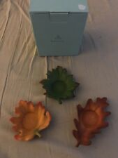 PARTY-LITE  WHISPERING LEAF 3-Wick PILLAR CANDLE HOLDER