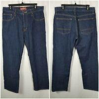 Arizona Jean Co Original Straight Dark Blue Denim Jeans Mens 34x30